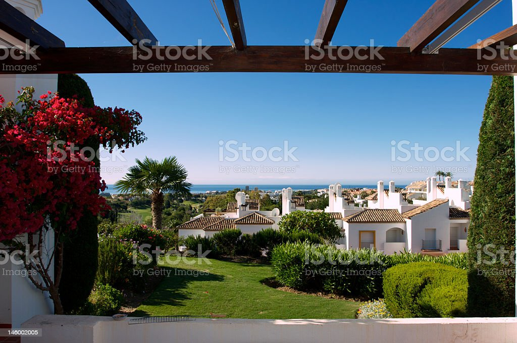 Residence in Puerto Banus, Marbella on a sunny day stock photo