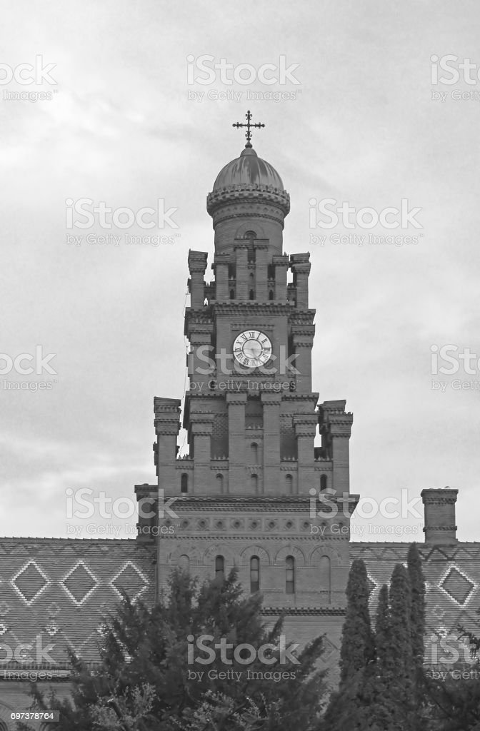 Residence of Bukovinian and Dalmatian Metropolitans. Chernovtsi, Europe. Black and white filter stock photo