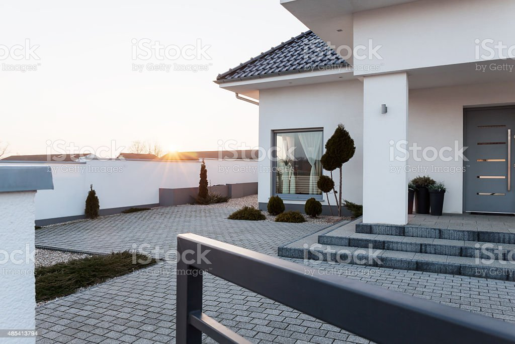 Residence with yard stock photo