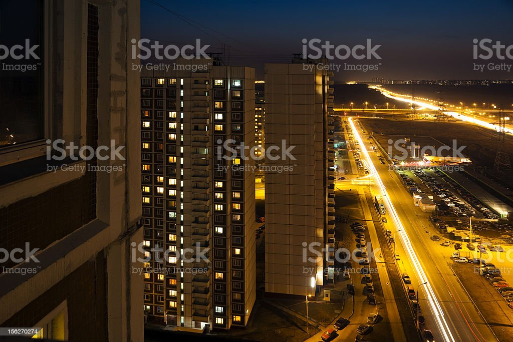 Residental  district at night and traffic light royalty-free stock photo