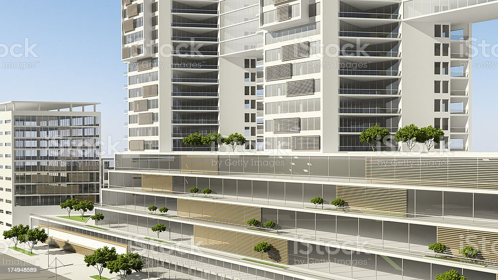 Residential and Office Building Development. City. 3D Render. Architecture Abstract. royalty-free stock photo