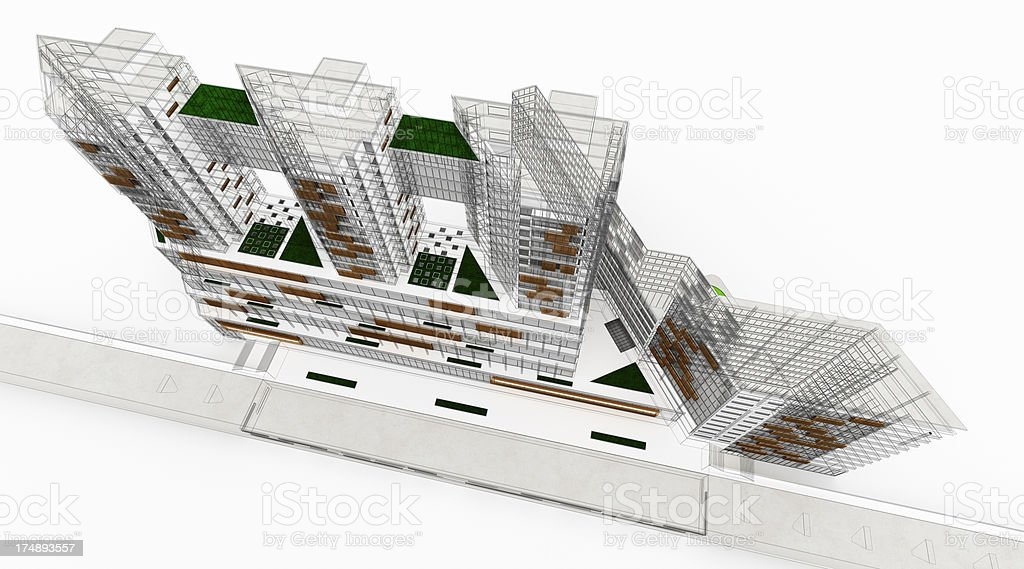 residential and office building development wireframe 3d render architecture abstract royalty free abstract 3d office building