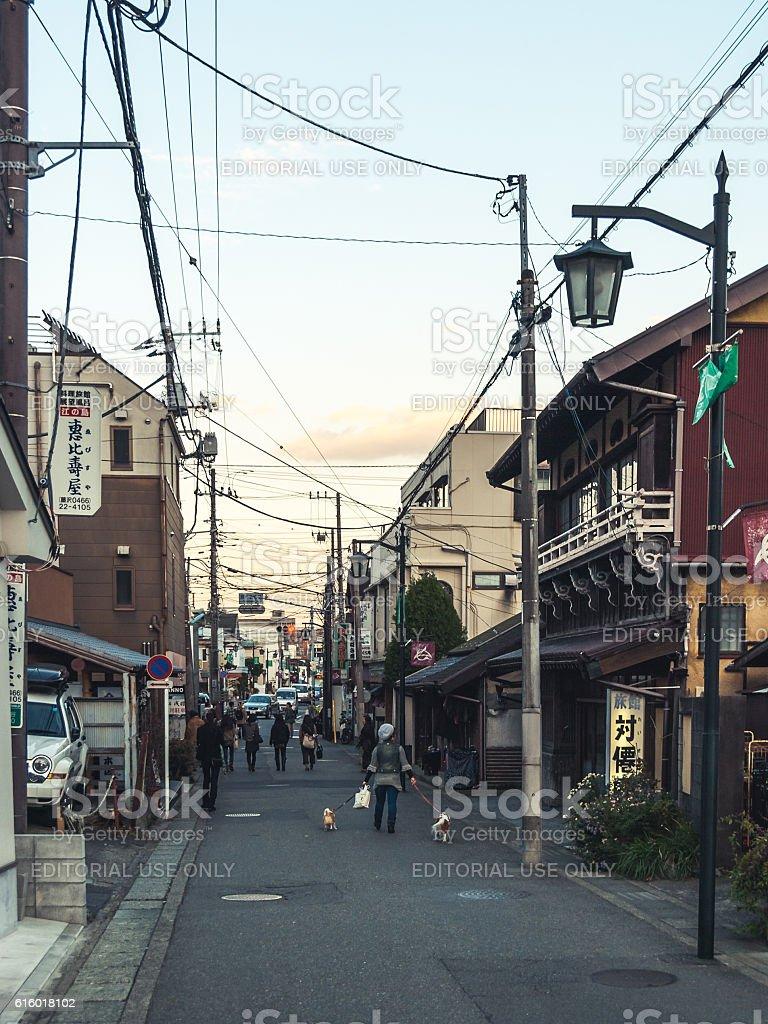 Residential and shopping street in Kamakura, Japan stock photo
