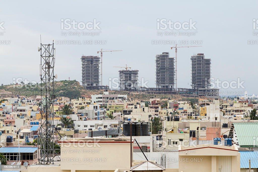 Residential apartments under construction, Bangalore, India stock photo