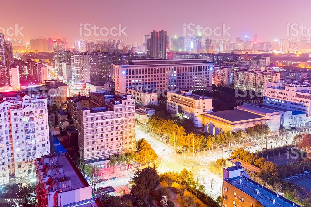 residential area at night in wuhan stock photo