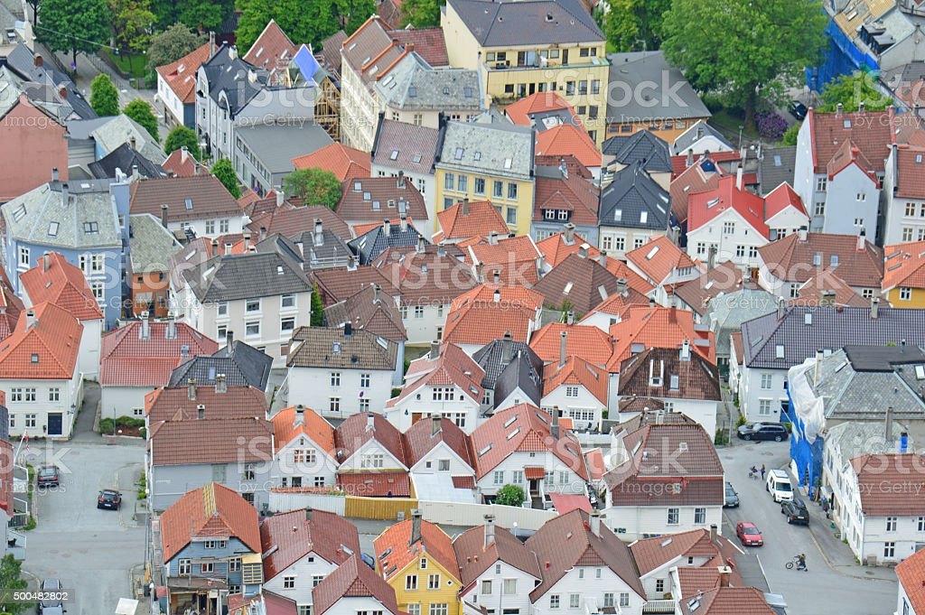 Residential Area in Bergen, Norway stock photo