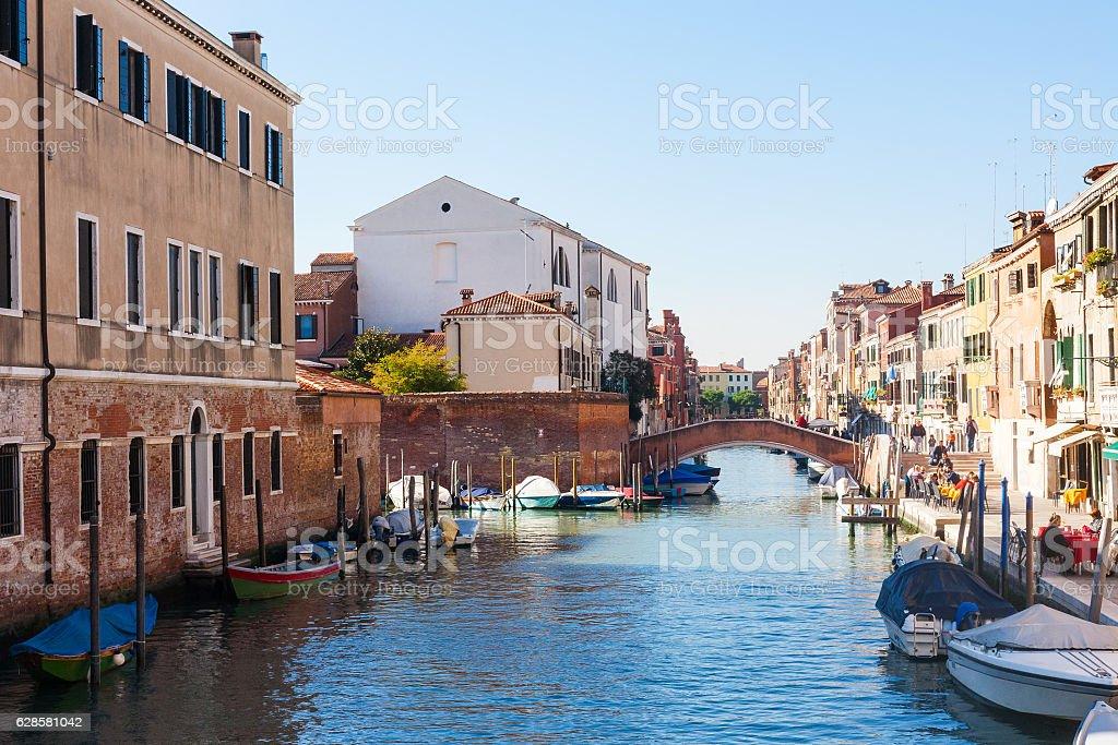 residential area in Cannaregio sestieri in Venice stock photo