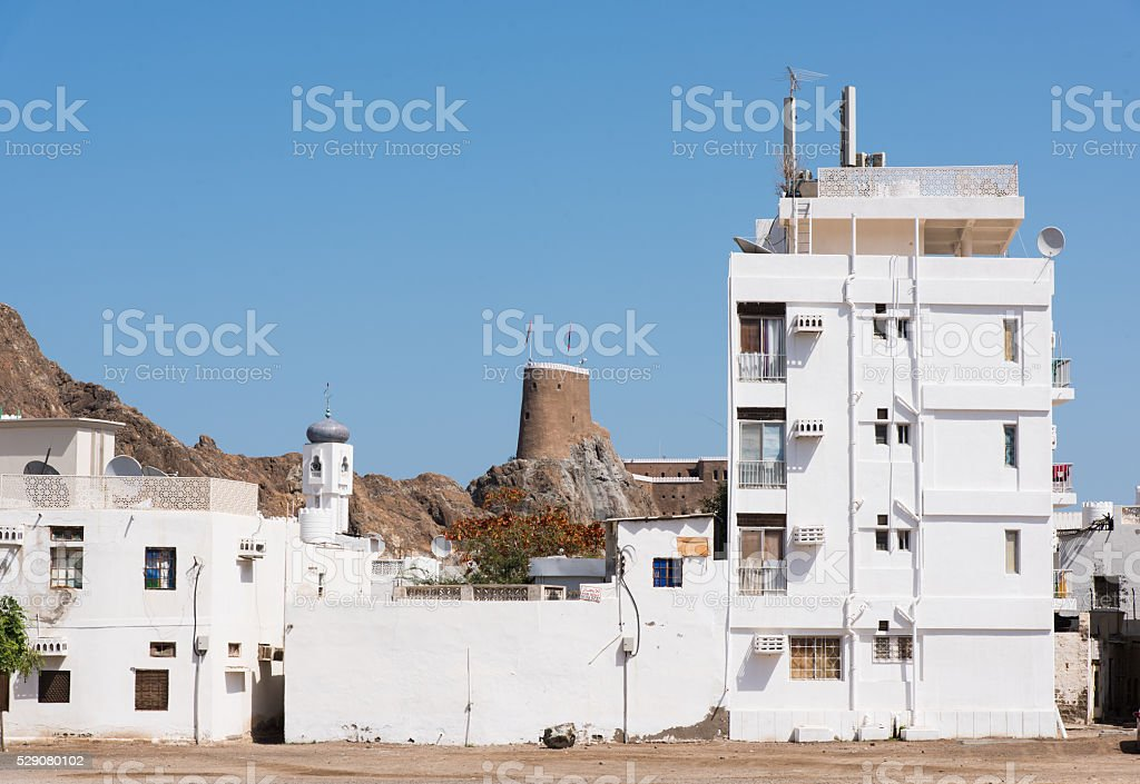 Residential area in Muscat, Oman stock photo