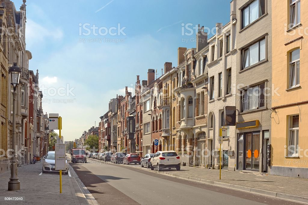 Residential area in Ostend, Belgium stock photo