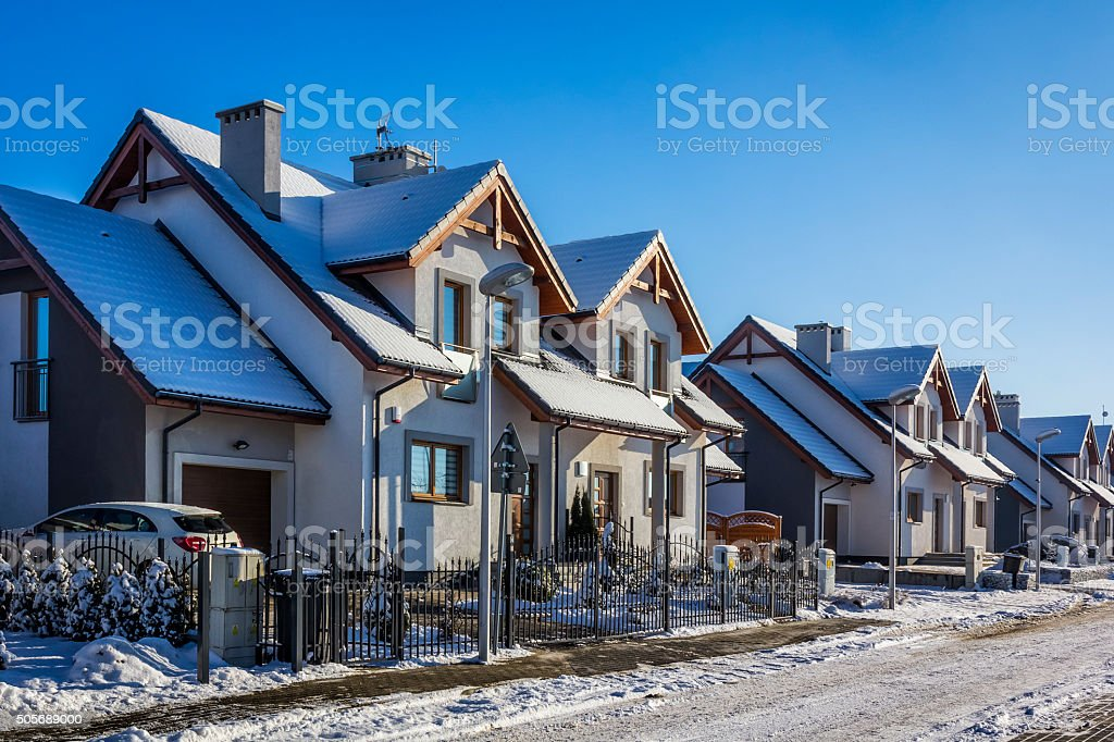 Residential area in winter, Szczecin, Poland stock photo