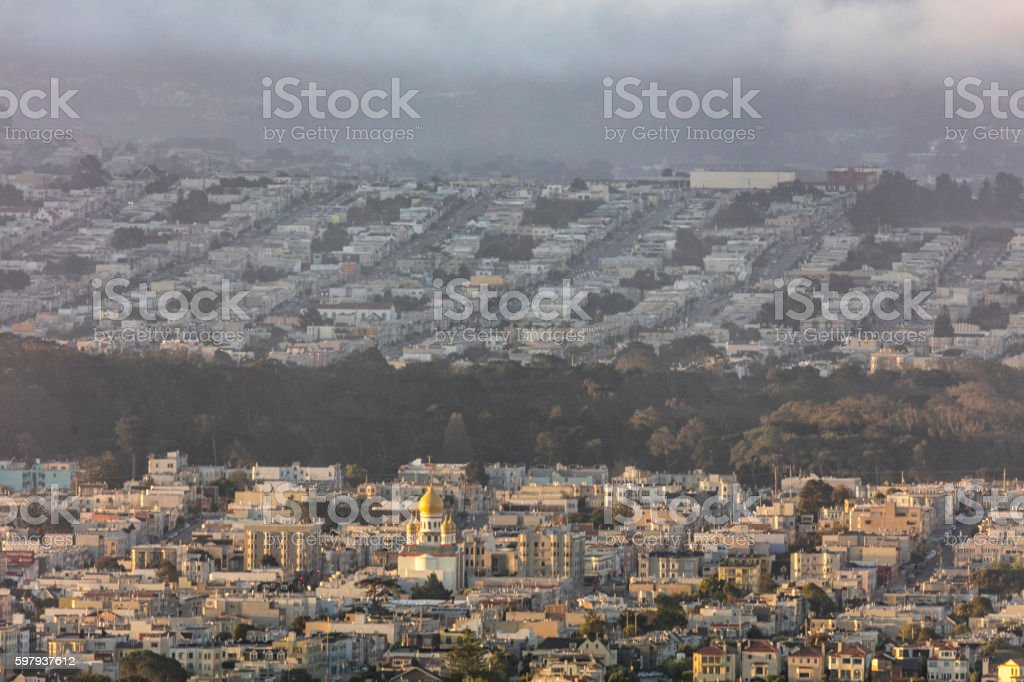 Residential Area On the West Side of San Francisco stock photo