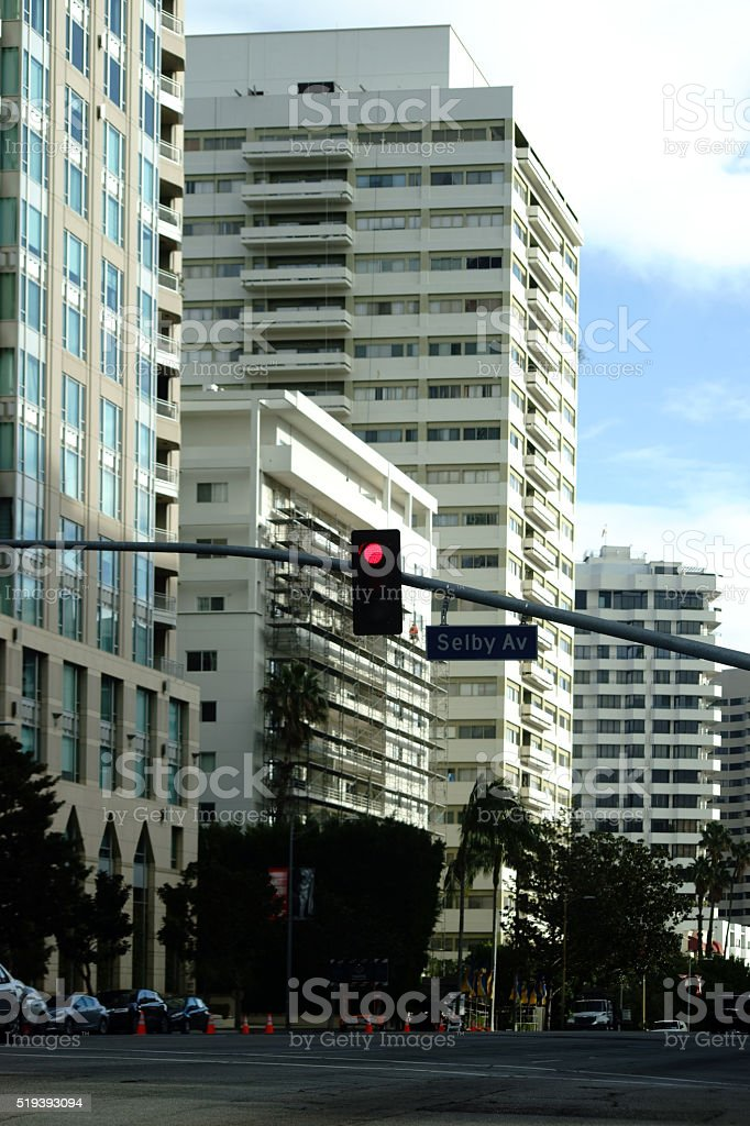 Residential area on Wilshire Blvd. stock photo