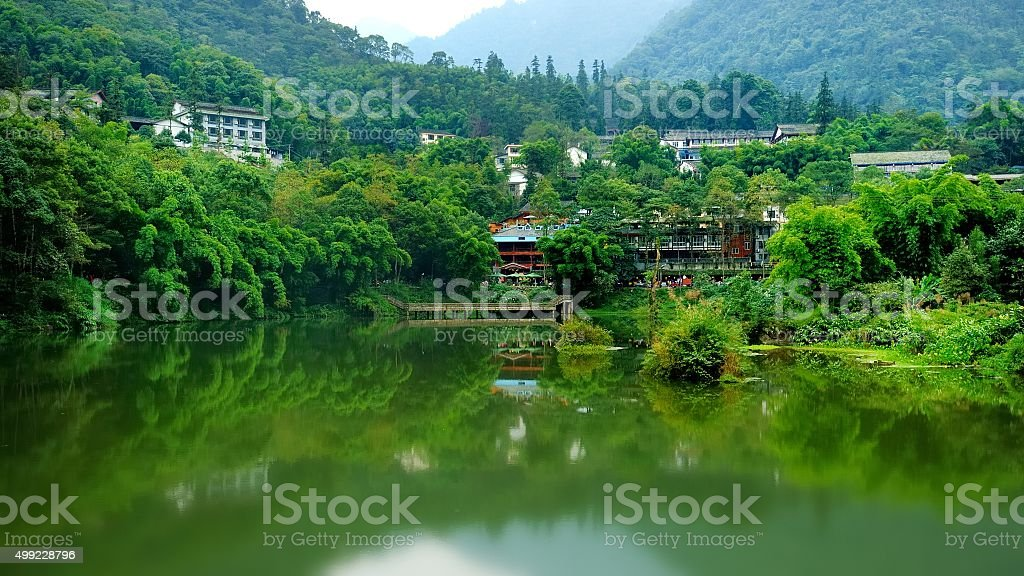 Residential area under the Emei mountain stock photo