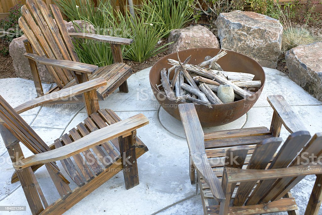 Residential Backyard Fire Pit royalty-free stock photo