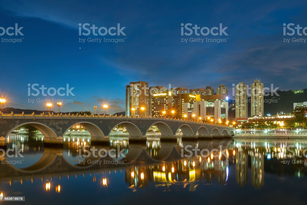 Residential building and bridge stock photo
