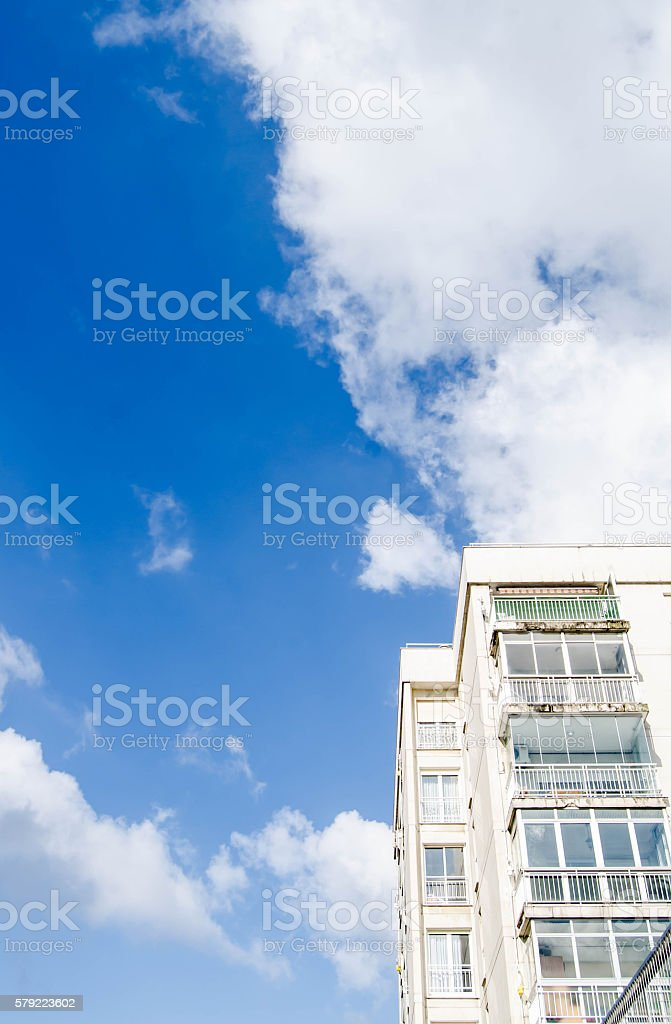 Residential building and skyscape stock photo