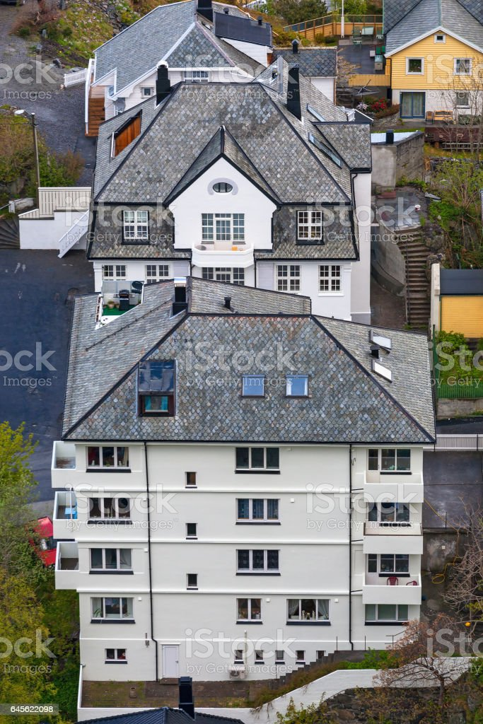 Residential building from above stock photo