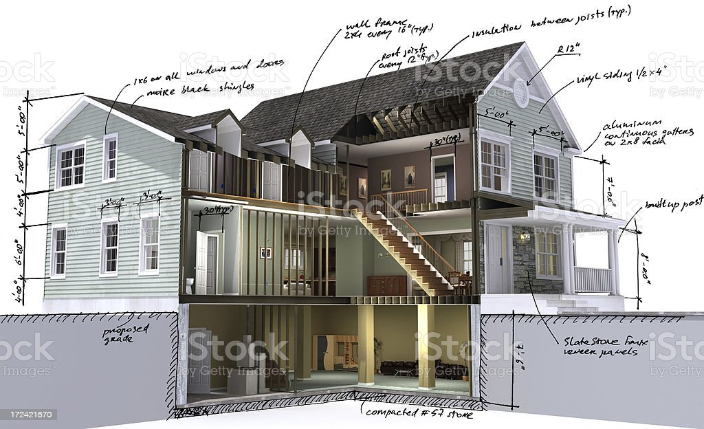 Residential building scetch stock photo