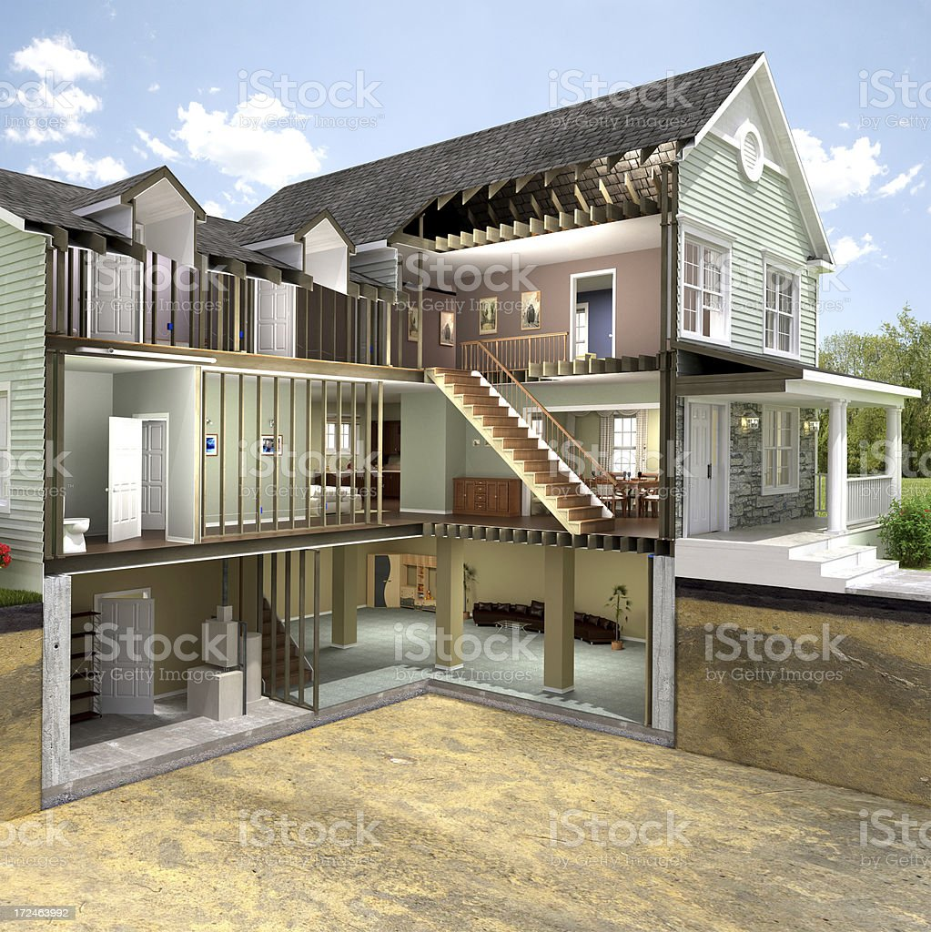 Residential building section stock photo