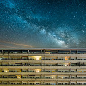 Residential building under a starry sky