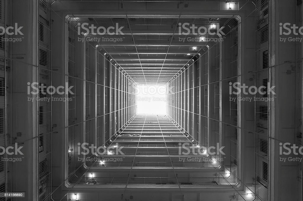 residential building, viewed from bottom stock photo