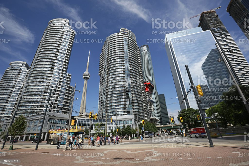 Residential Buildings and CN Tower, Queens Quay, Toronto, Canada stock photo