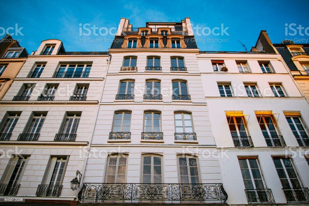 Residential buildings in Paris stock photo
