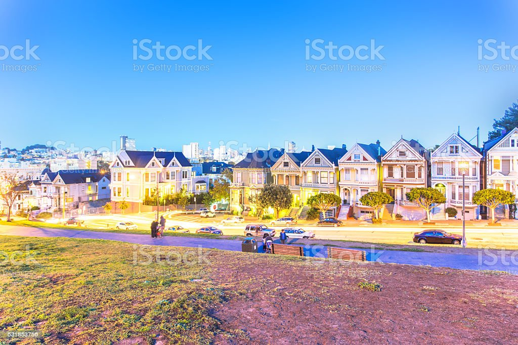residential buildings near alamo square in san francisco stock photo