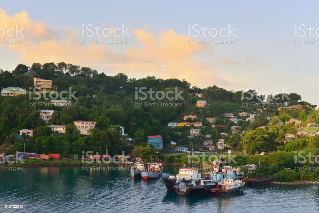 Residential Castries City Blue Collar Area stock photo