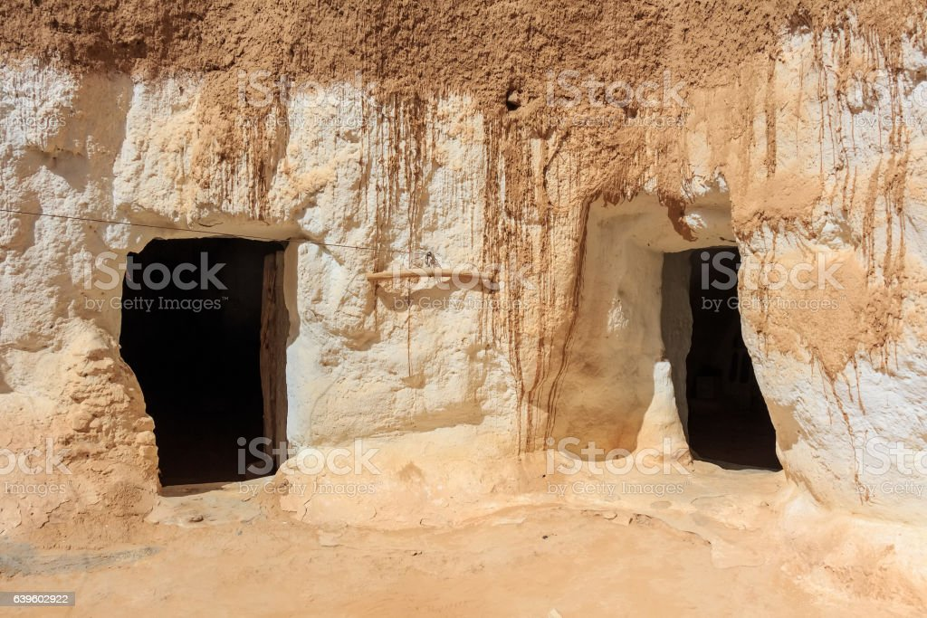 Residential caves of troglodytes stock photo