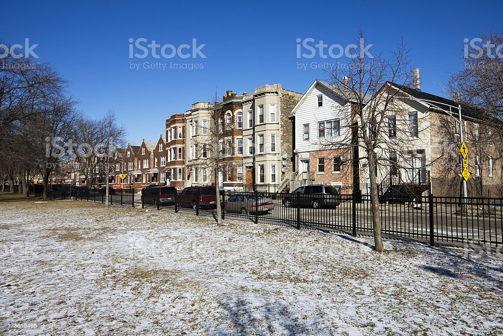 Residential City Street in Winter stock photo