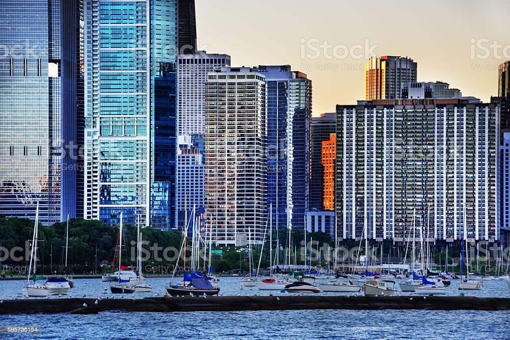 Residential cityscape at dusk, Chicago stock photo