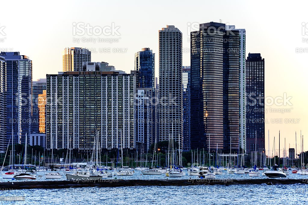Residential cityscape at dusk, Lakeshore East, Chicago stock photo