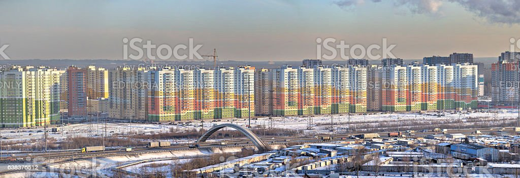 Residential complex, real estate in new buildings, Saint Petersburg, Russia. stock photo