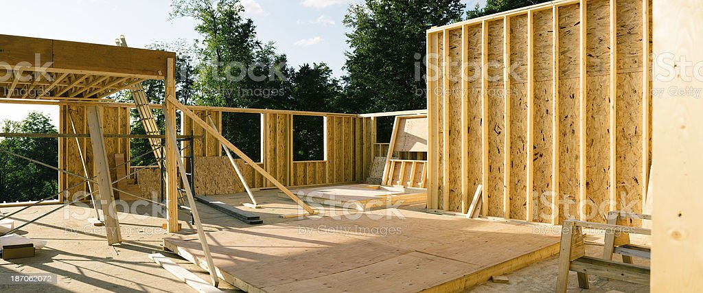 Residential construction site panorama royalty-free stock photo