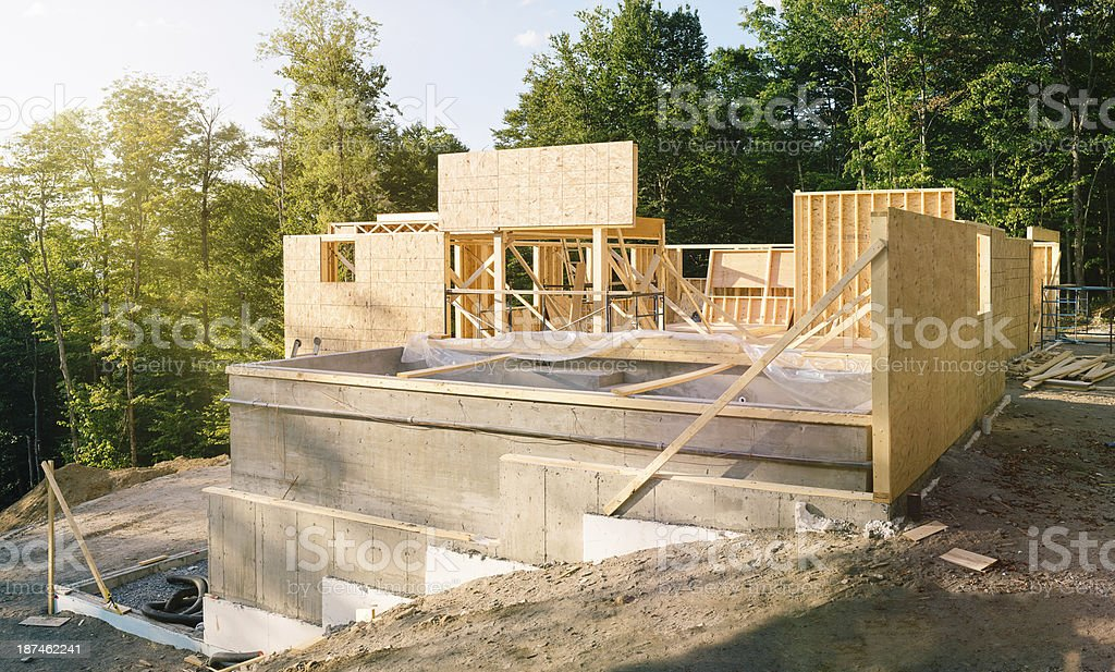 Residential construction site panorama with pool royalty-free stock photo