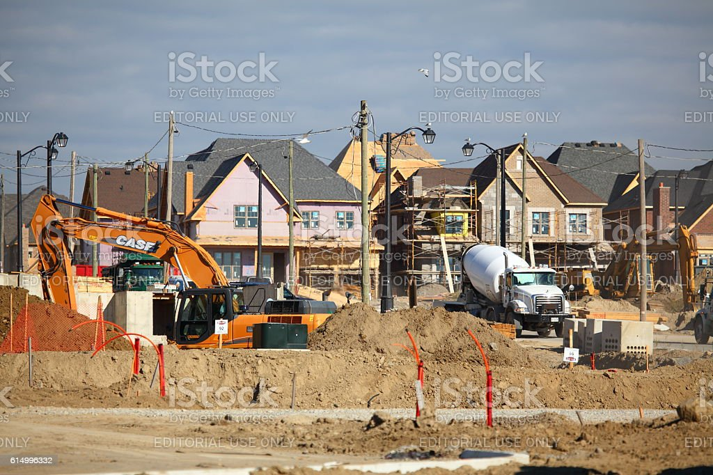 Residential district construction site in Vaughan stock photo
