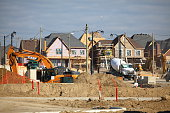 Residential district construction site in Vaughan