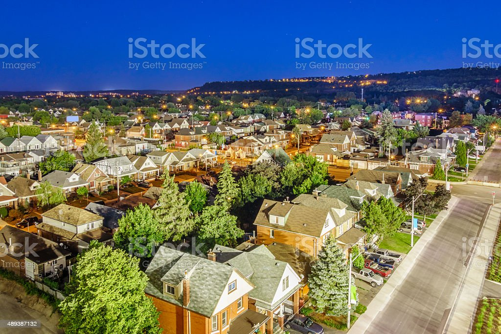 Residential District Homes from Above Hamilton Canada stock photo
