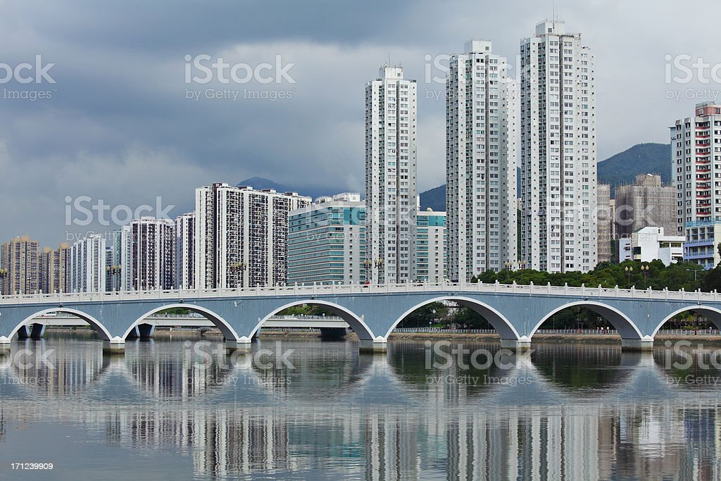 Residential district in Hong Kong stock photo