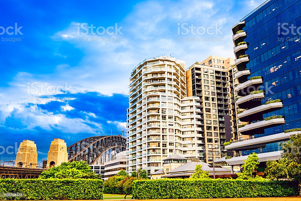 Residential district in Sydney close of harbor stock photo