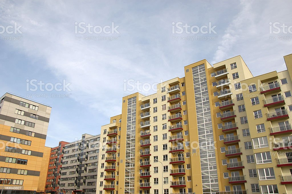Residential district with apartment buildings stock photo