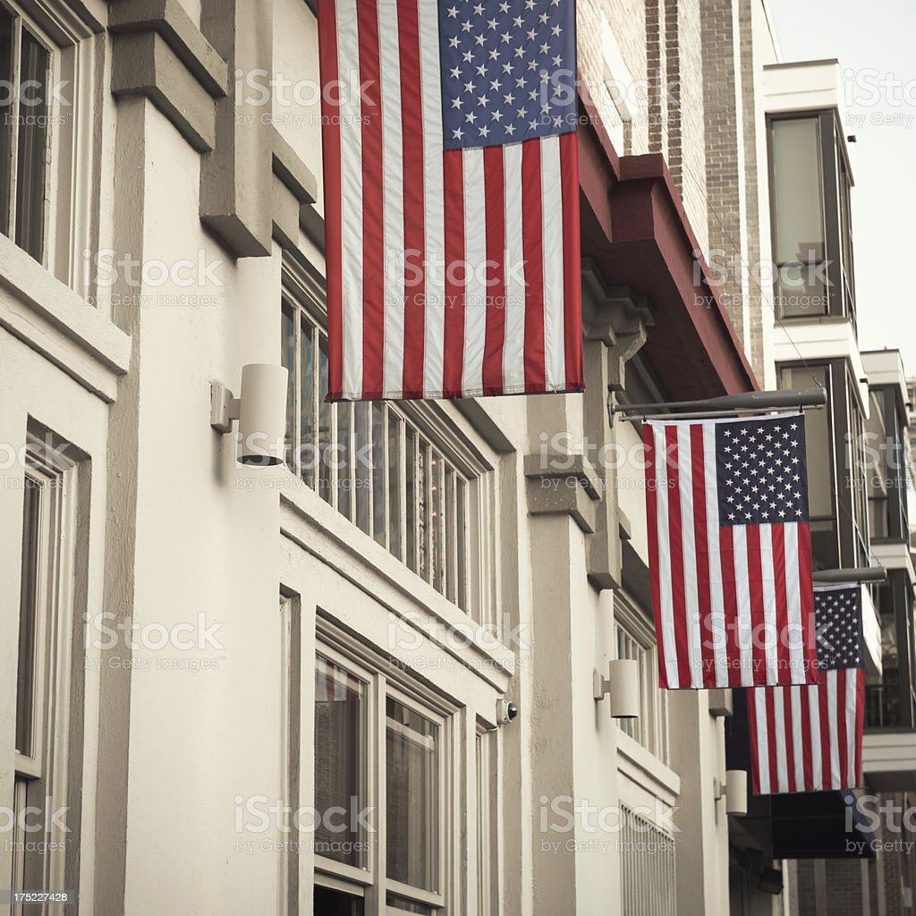 Residential district with us flag royalty-free stock photo