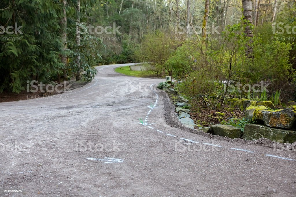 Residential driveway prepared for paving stock photo