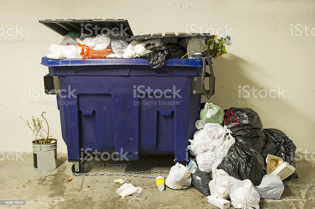 Residential Dumpster stock photo