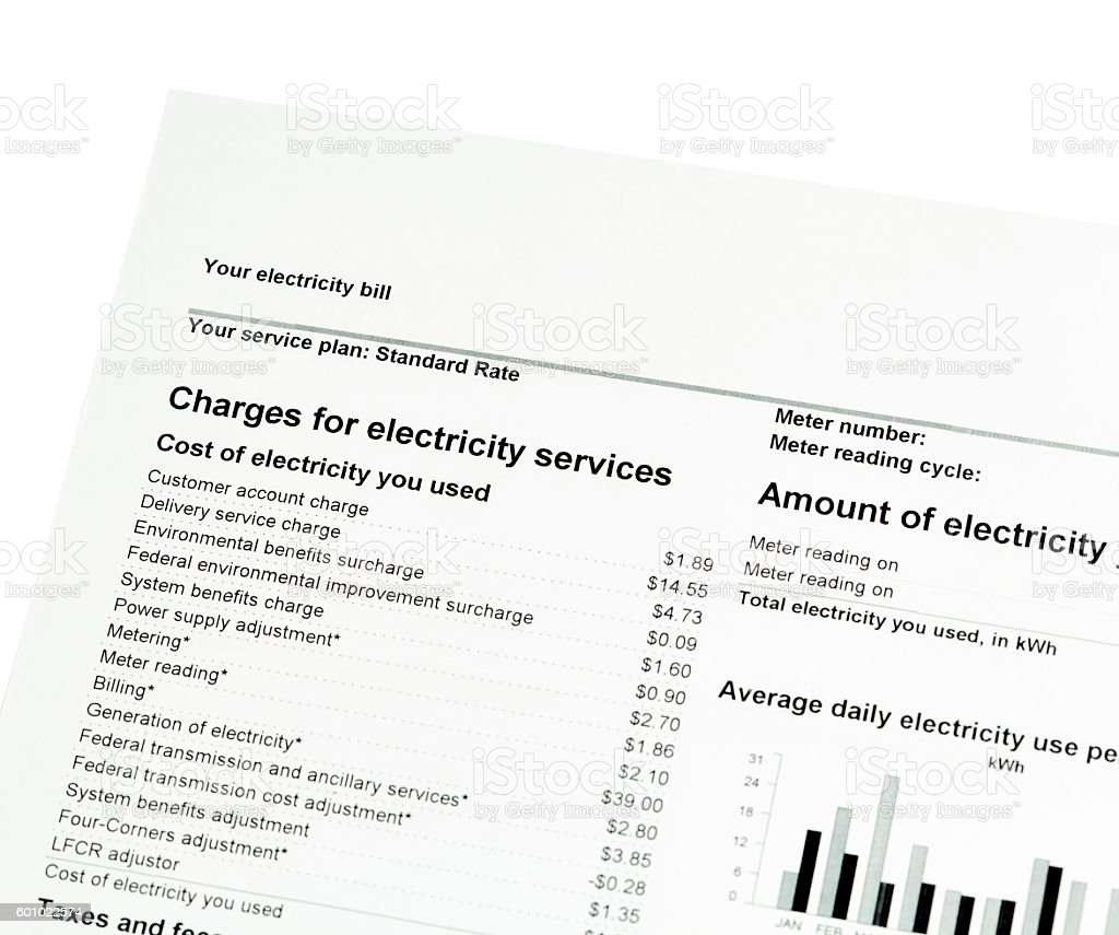 Residential Electricity Bill stock photo