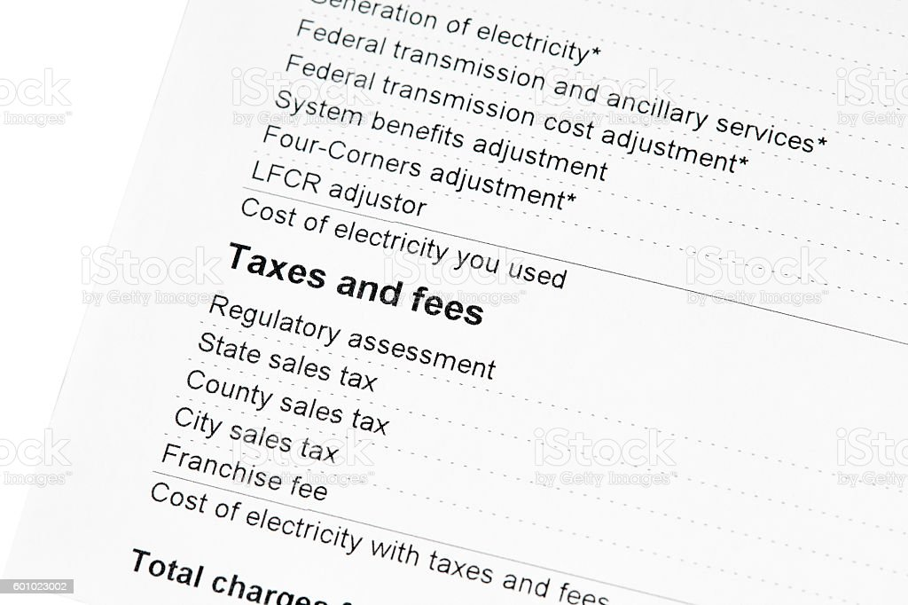 Residential Electricity Bill Taxes and Fees stock photo