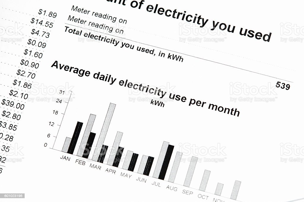 Residential Electricity Bill Usage Graph stock photo