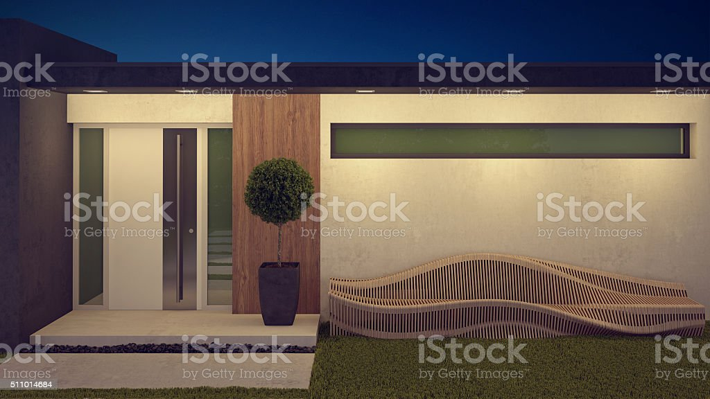 Residential Entrance in Evening Lights stock photo