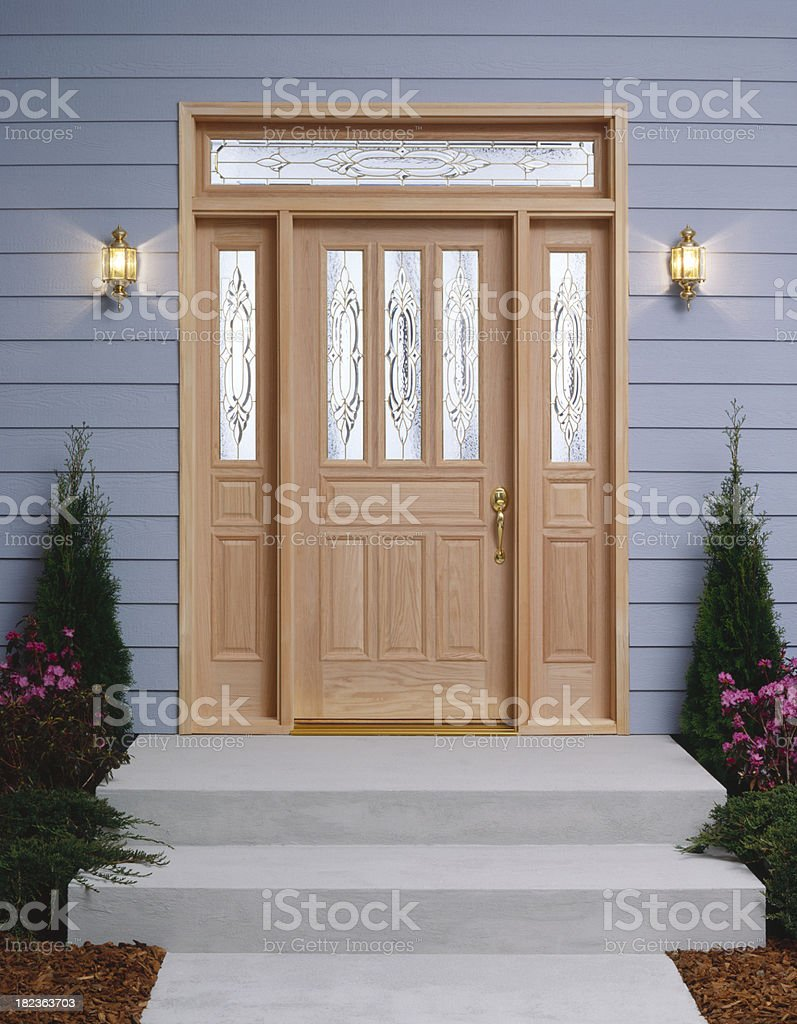 Residential front entry and porch stock photo